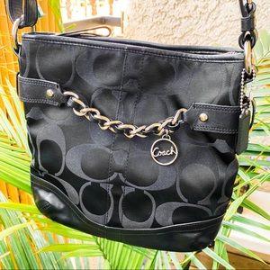 Coach signature black silver chain crossbody bag